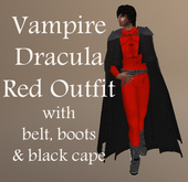 Vampire Dracula Red Outfit with Black Cape & Boots, Halloween,