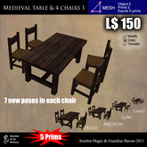 LOW PRIM - Medieval Table & 4 Chair 1 [G&S]
