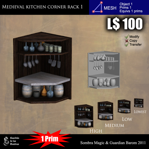 LOW PRIM - Medieval kitchen corner rack 1 [G&S]