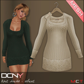 DCNY MESH Knit Dress in Wheat