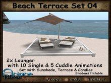 Beach Sun Deck/Lounger, Parasol & Terrace wood white