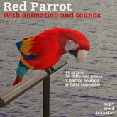 Parrot Red animated, with parrot sounds on/off