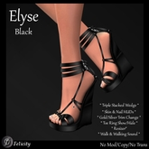 SALE! *Felicity* Elyse Wedges - Black Shoes High Heel Strappy Sandals (Shoes with Wedge Heel)