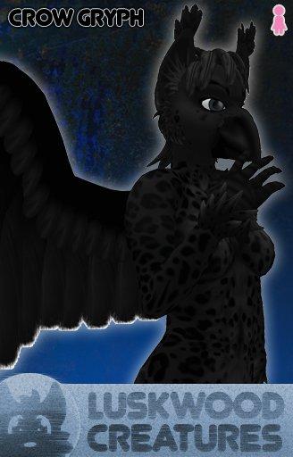 Luskwood Crow Gryph Avatar - Female - Complete Furry Avatar