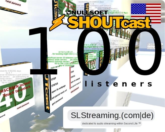 SHOUTcast server 100 listeners ONE MONTH 30 days US