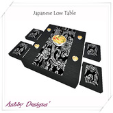 Japanese low table with bowls and chop sticks