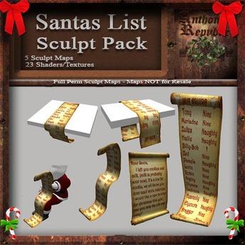 Santas List Sculpt Pack, Sculpted Christmas / Holiday Parchments, 2 Sculpty Maps & 6 Textures Full Perms