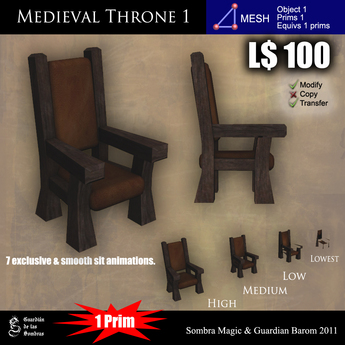 LOW PRIM - Medieval Throne 1 [G&S]