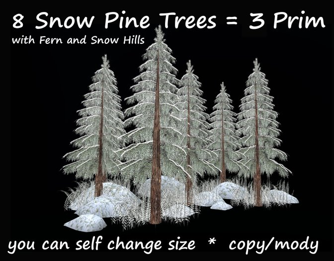8 snow pine trees with fern snow (for landscaping cave grotto waterfall winter forest ice tree plant pine landscaping )