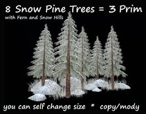 8 snow pine trees with fern snow 20x20m size 2 prim copy/mody