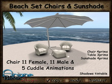 Lounge Chair & Sunshade rattan white for Beach & Terrace with Cuddle Animations