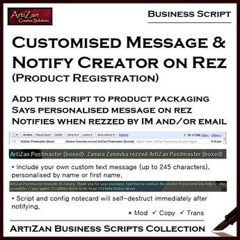 ArtiZan Business Script: Message & Notify on Rez
