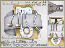 ::KAZ:: 24K Gold Ipod white leather armband