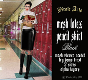 =PIA= Box mesh black latex pencil skirt