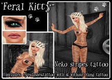 "::ED:: ""Feral Kitty"" full body tattoo & eye set"