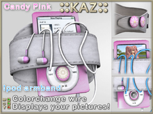 ::KAZ:: Candy pink Ipod white leather armband