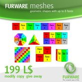 FURWARE meshes - Geometric shapes with up to 8 faces