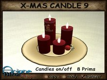 Christmax Xmas Advent Candle Nr.9 red