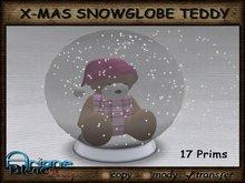 Christmax Xmas Advent Snow Globe Teddy pink