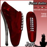 JariCat Fetish Ballet Shoes with walksound - Red