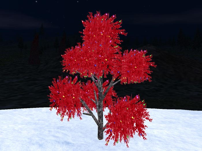 Blinking 3D red tree for Christmas