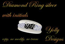 Ring 6 Diamonds Monogram with Initials silber