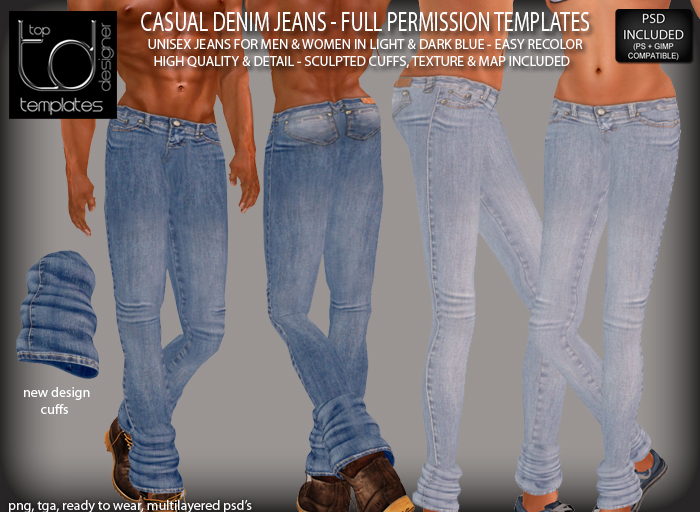 TD TEMPLATES Casual Denim Jeans Templates PNG, TGA & PSD FILES  - FULL PERMISSIONS