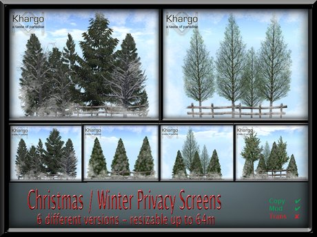 CHRISTMAS / WINTER PRIVACY SCREENS - 6 DIFFERENT SCENES - RESIZABLE TO 64 M