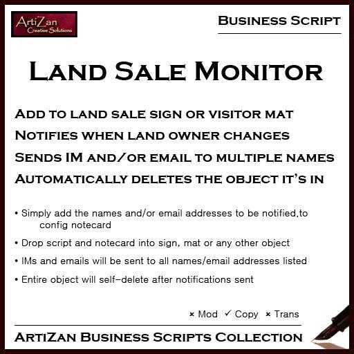 ArtiZan Business Script: Land Sale Monitor