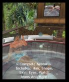 @ Complete Male Avatar ~ Cutoff Jeans Bathing Suit, Hair, Skin, Shape, Eyes, & More !