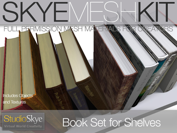 INTRO PROMO PRICE Skye MESH Kit - Full Perms 1 prim Book Set for Shelves