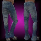 .:: EON ::. Blue jeans worn and patched with sculpt cuffs