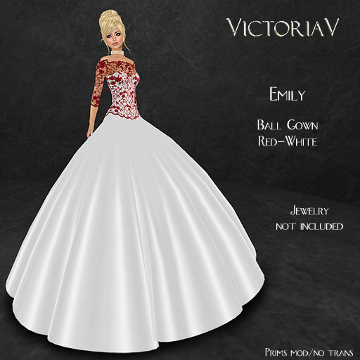 Second Life Marketplace Victoriav Emily Ball Gown White Red