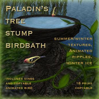Paladin's Tree Stump Birdbath with Animated Tanager
