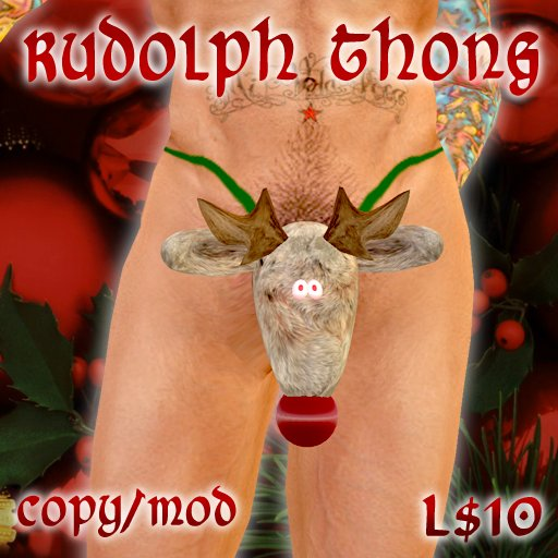 Sculpted Scripted Rudolph Thong - PERFECT CHRISTMAS GIFT