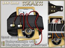 ::KAZ:: 24K Gold Ipod black leather armband