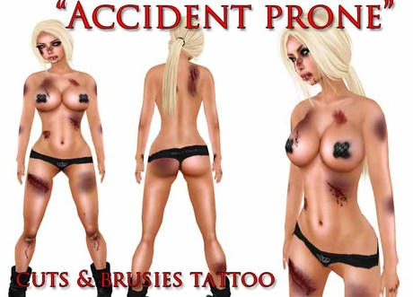 "::ED:: ""Accident Prone"" bruised body tattoo UNISEX"