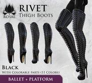 [ROSAL] RIVET Latex Thigh-high Boots - Black