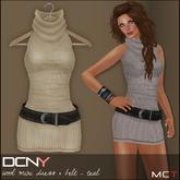 DCNY Wool Mini Dress & Belt in Wheat