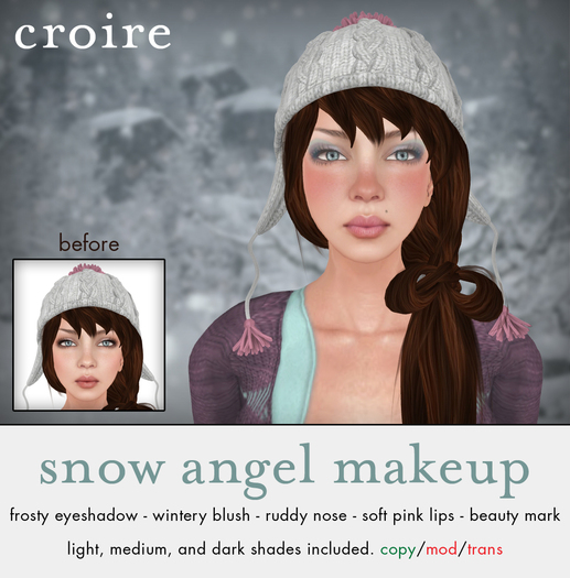 [croire] Snow Angel Makeup - Winter Beauty Look - Full Face Makeup (eyeshadow, blush, ruddy nose, lip balm, beauty mark)