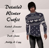 Winter Outfit, Knitted Sweater Jumper & Black Jeans