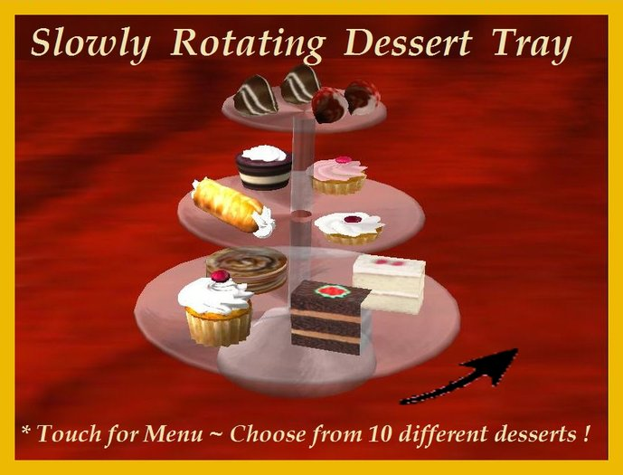Second Life Marketplace Rotating Party Dessert Tray Menu Select Choice Hold Eat