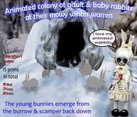 Animated Colony of Rabbits in their Snowy Winter Warren.