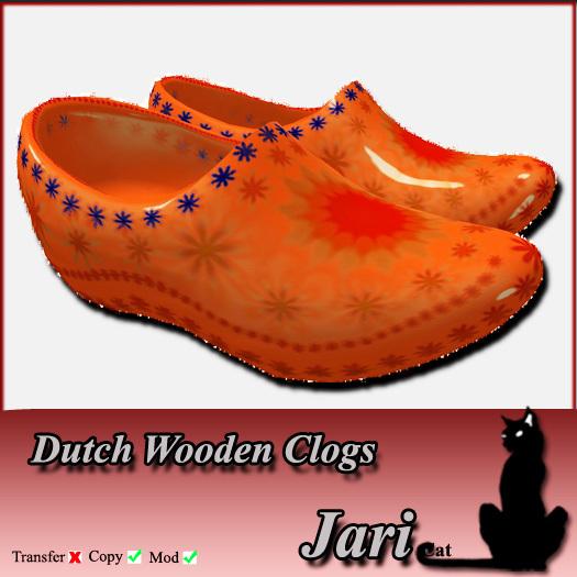 *JariCat* Dutch Wooden Clogs Orange
