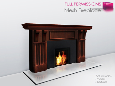 Full Perm Mesh Fireplace With Fire Animation