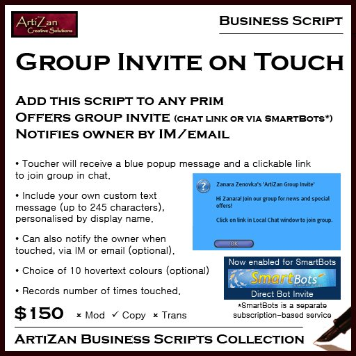ArtiZan Business Script: Group Invite on Touch