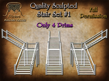Riders Sculpted Stair Set #1, 3 Configurations at Only 4 Prims Each, Full Permissions, Quality Sculptys