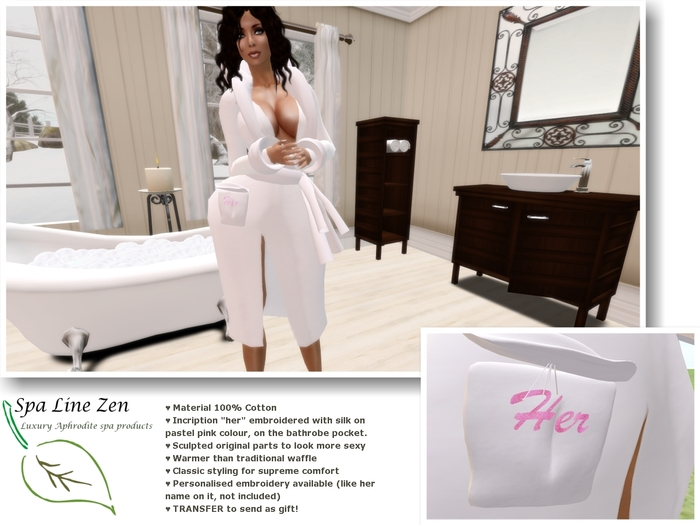 """Luxury Egyptian Cotton towel Robe """"for her"""""""