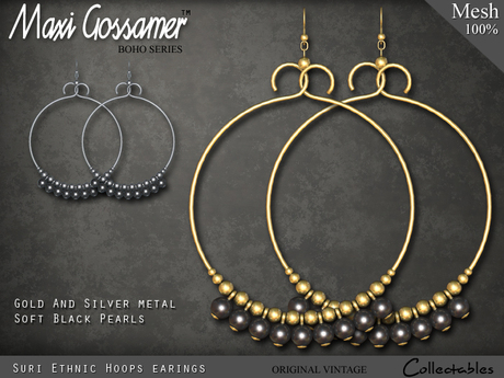 Mesh Earrings - Suri Ethnic - Black Pearls with Gold and Silver