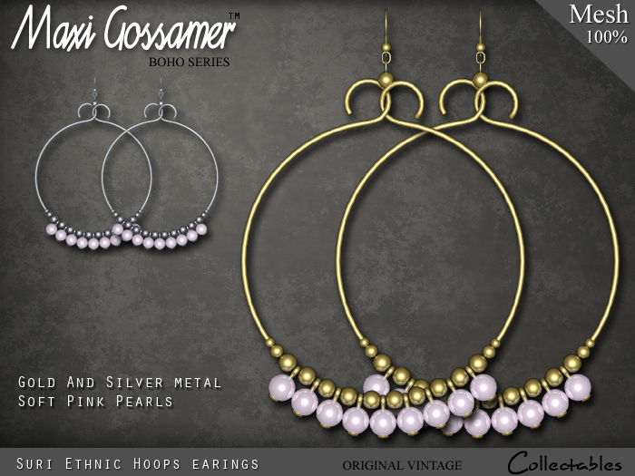 Mesh Earrings - Suri Ethnic - Pink Pearls with Gold and Silver